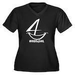 Kids4sail Women's V-Neck Dark Plus Size T-Shir