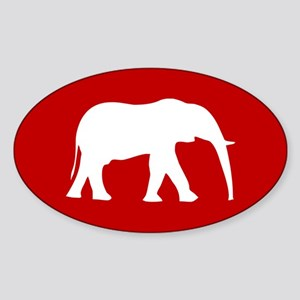 Red/White Elephant Oval Sticker