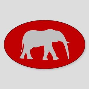 Red/Grey Elephant Oval Sticker