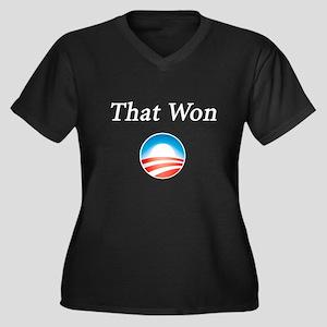 That Won: Women's Plus Size V-Neck Dark T-Shirt