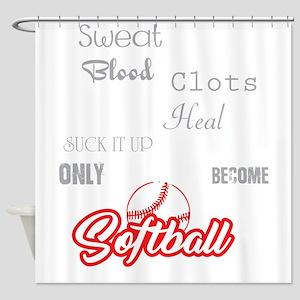 Funny Softball Image Girl Player Te Shower Curtain