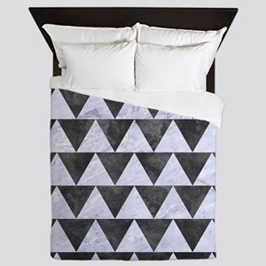 TRIANGLE2 WHITE MARBLE & GRAY METAL 3 Queen Duvet