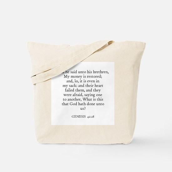 GENESIS  42:28 Tote Bag