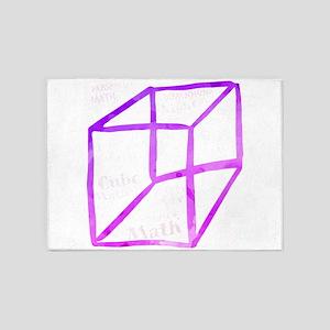 cube math maths 3d dimensions space 5'x7'Area Rug