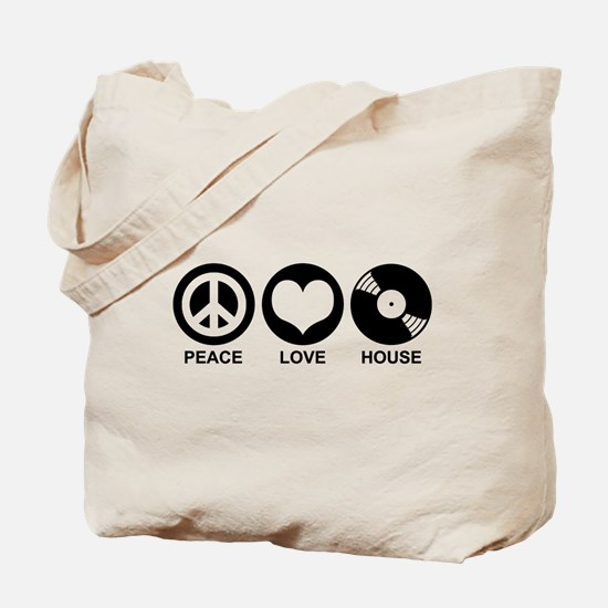 Peace Love House Tote Bag