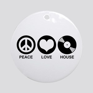 Peace Love House Ornament (Round)