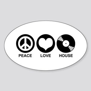 Peace Love House Sticker (Oval)