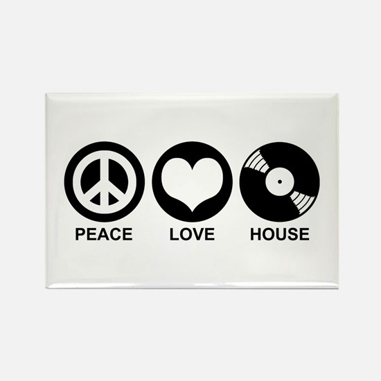 Peace Love House Rectangle Magnet
