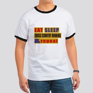 Eat Sleep Cross Country Running And Repea Ringer T
