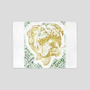 dog bulldog angry ugly face british 5'x7'Area Rug