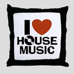 I Love House Music Throw Pillow