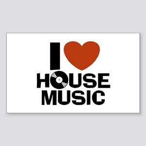 I Love House Music Rectangle Sticker