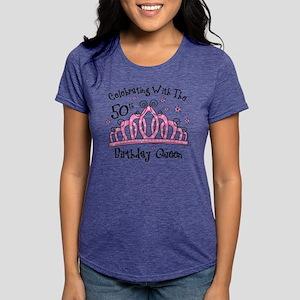 Tiara 50th Bday Queen Cw Womens Tri Blend T Shirt