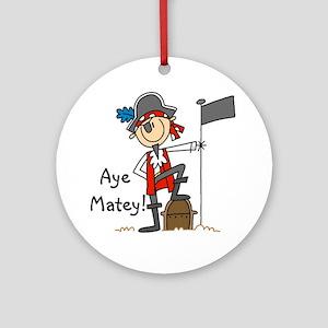 Aye Matey Pirate Ornament (Round)