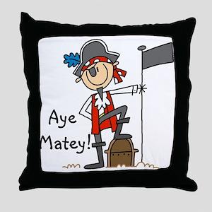 Aye Matey Pirate Throw Pillow