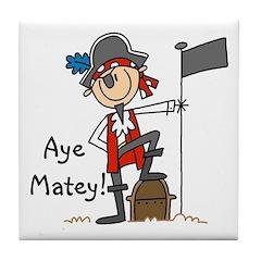 Aye Matey Pirate Tile Coaster