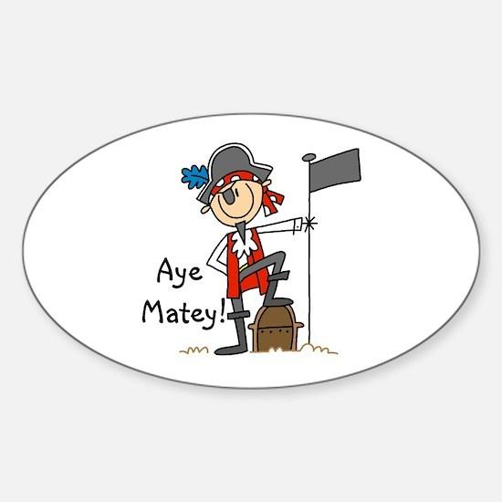 Aye Matey Pirate Oval Decal