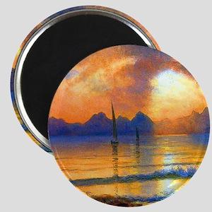 Albert Bierstadt Sunset Over a Mountain Lake Magne