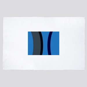 Graphicwear: Blue and grey strip patte 4' x 6' Rug