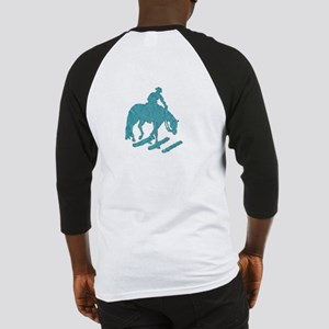 Teal trail horse with poles Baseball Jersey