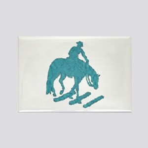 Teal trail horse with poles Rectangle Magnet