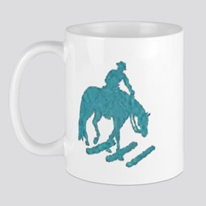 Teal trail horse with poles Mug