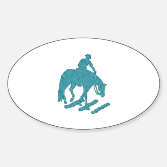 Teal trail horse with poles Oval Decal