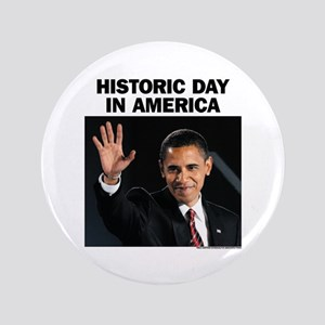 "Obama Wins! Historic Headline 3.5"" Button"