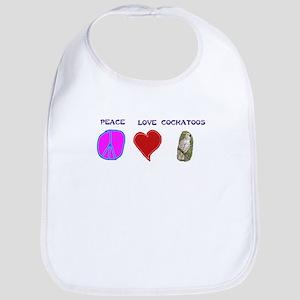 Peace Love Cockatoos Bib
