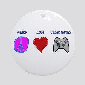 Peace love video games Ornament (Round)