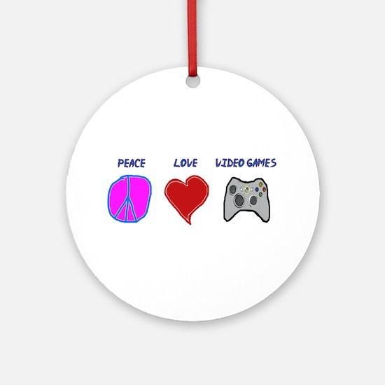 Peace love video games Ornament (Round)
