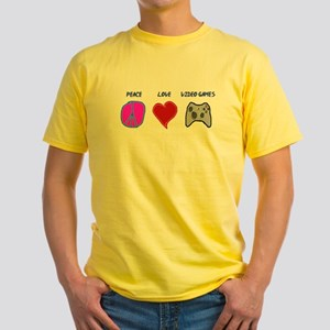 Peace love video games Yellow T-Shirt