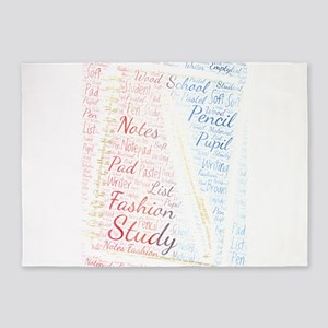 fashion 80s pastel soft notepad pen 5'x7'Area Rug