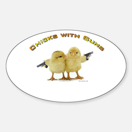 Chick Wi' Guns Oval Decal