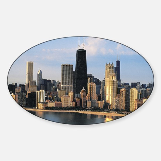 Chicago from Lake Shore Drive Oval Decal