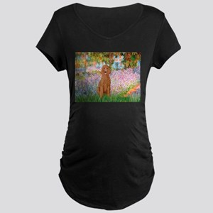 Garden/Std Poodle (apricot) Maternity Dark T-Shirt