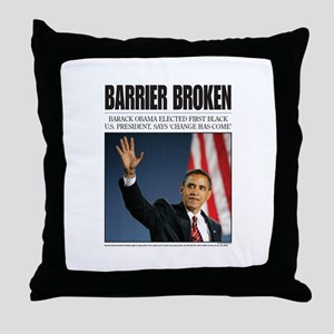 Obama: Barrier Broken Throw Pillow