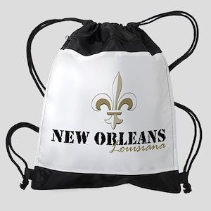 New Orleans Louisiana gold Drawstring Bag