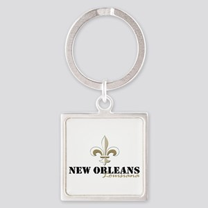New Orleans Louisiana gold Square Keychain