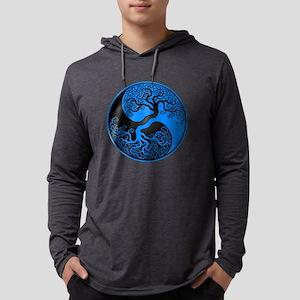 Blue and Black Yin Yang Tree Long Sleeve T-Shirt