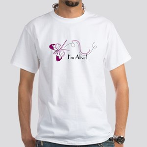 Breast Cancer Butterfly White T-Shirt