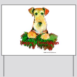 Airedale Holiday Yard Sign