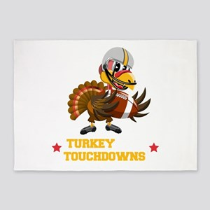 Turkey and Touchdowns Thanksgiving 5'x7'Area Rug