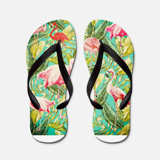 Aloha Tropical Jungle Flowers and Bird Flip Flops