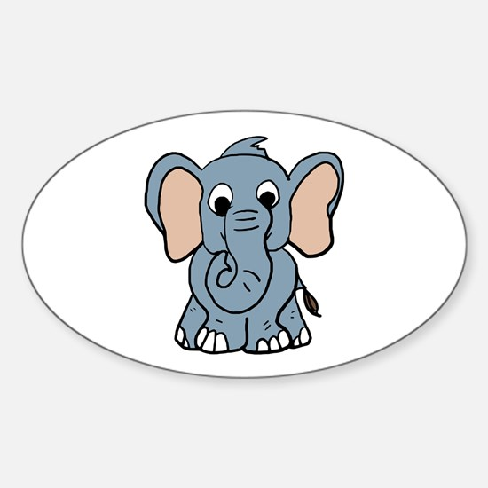 Cute Elephant Oval Decal