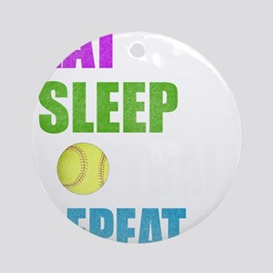 Eat Sleep Softball Repeat Girls Gif Round Ornament