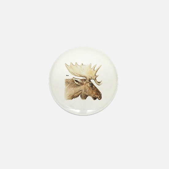 Moose Antler Head Mini Button
