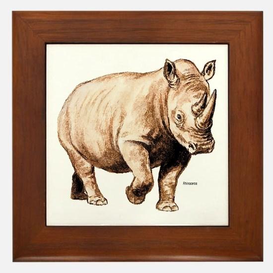 Rhino Rhinoceros Framed Tile