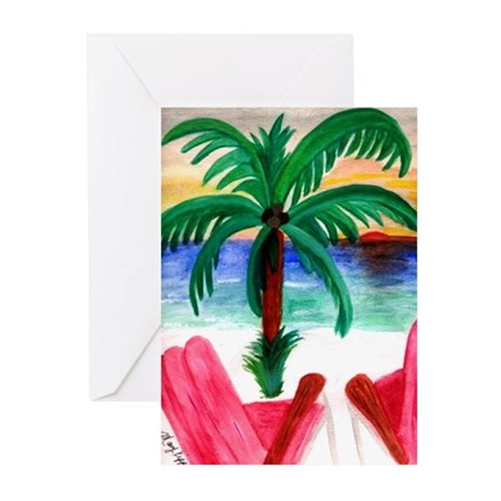 Red Beach Chairs Greeting Cards (Pk of 10)