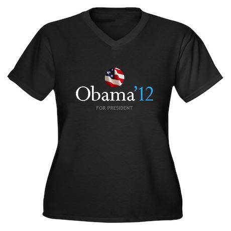 Obama '12 Women's Plus Size V-Neck Dark T-Shirt